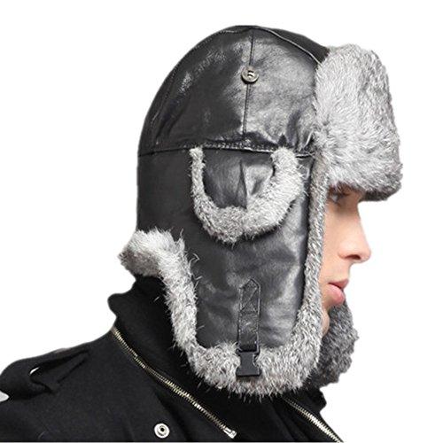 (Kenmont Men's Bomber Hat Winter Genuine Leather Natural Rabbit Fur Ski Trapper Aviator Cap (XL-61CM(24.02inches), Black))