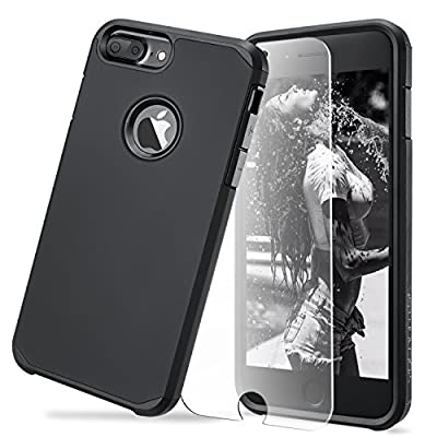 iPhone 7 Plus Case,Ultra Armor Shock Absorbing Heavy Duty Dual Layer Case Protection With Free Scree Protector For iPhone 7 Plus/ iPhone 6S Plus - Smart Black by Toobe