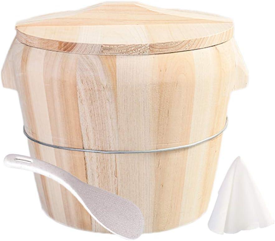 Hcooker Handmade Rice Bucket Wood Cooking Steamer Cedarwood Steamed Cask (Handle Lid)