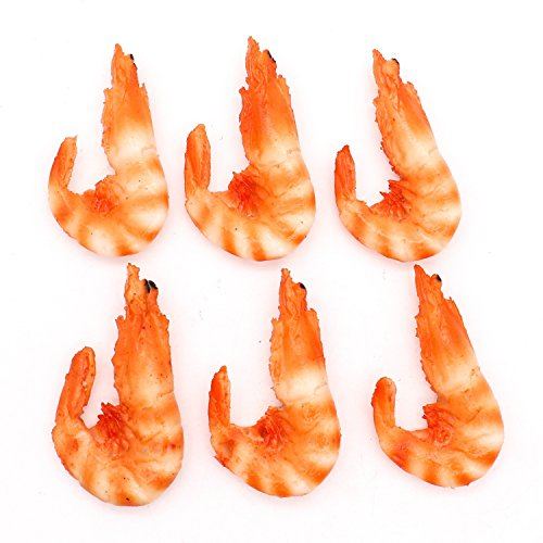 Pack of 6 Fake Cooked Shrimp Plastic Lobster Seafood Model for Kitchen Home Party Christmas Halloween Decoration Market Food Sample Display Kids Toy -