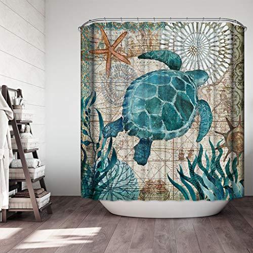 (Bathroom Rug Shower Curtain 4-Piece Set Marine Life Theme Printed Non Slip Shower Mat & Contour Rug & Toilet Lid Cover & Shower Curtain 4 Pcs Set Home Bathroom Decor (A))