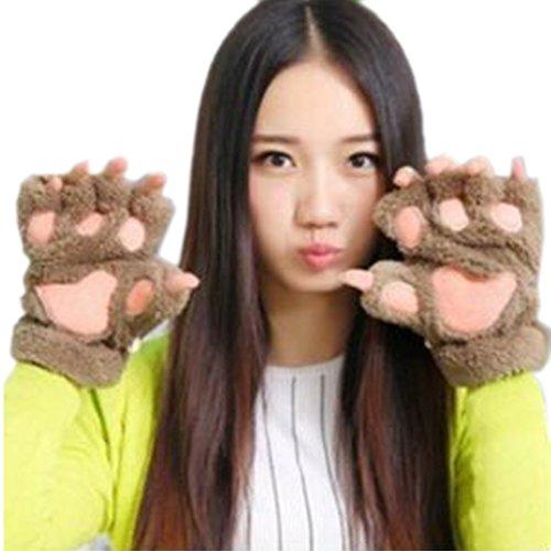 Arshiner Women Bear Plush Cat Paw Claw Glove
