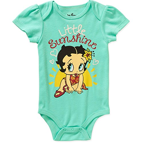 Betty Boop Little Sunshine Baby Girls Bodysuit Dress Up Outfit (Newborn, Turquoise)