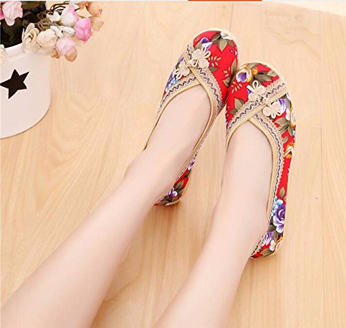 Embroidered Shoes Heels Summer Middle Old Beijing Shoes GTVERNH Low Shoes Round gules Head H4qdq