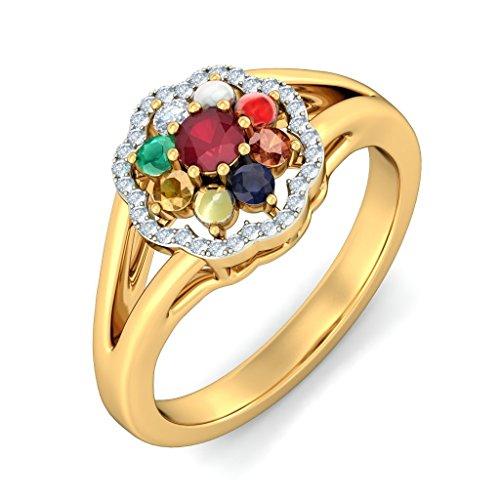 14K Or jaune, 0,12carat Diamant Blanc (IJ | SI) Rubis et Navaratna et diamant Bague