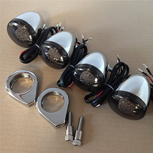 Turn Signal Mount Kit (Chrome Motorcycle Turn Signals Light Kit For Harley Bullet LED 41mm Clamp Mount)