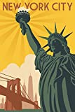 New York - Statue of Liberty and Bridge (16x24 Giclee Gallery Print, Wall Decor Travel Poster)