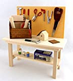 Melody Jane Dolls House Miniature Garden Shed Garage Accessory Full Workbench Tool Bench