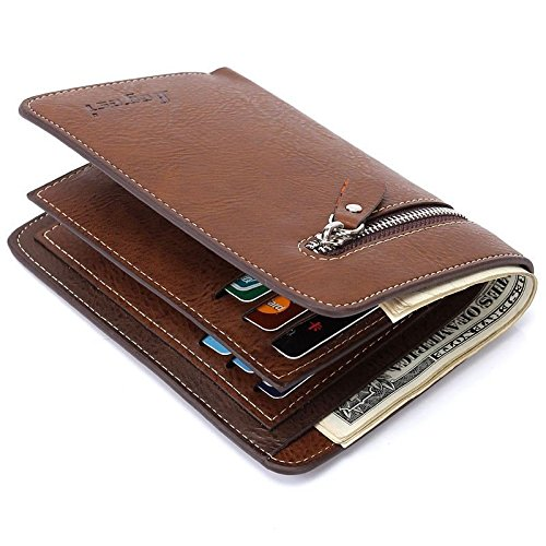 Men's Leather Bifold Card Holder Zip Pocket Wallet Handbag Clutch Purse Billfold