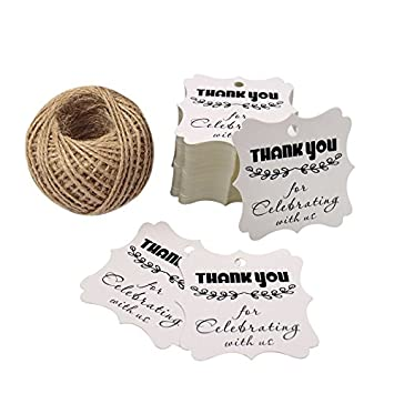 Baby Shower Tags for Favors, Thank You for Celebrating with Us Paper Gift Tags, 100 Pcs Kraft Thank You Tags for Wedding Party Favors with 100 Feet Natural Jute Twine (Brown) KINGLAKE 4336878827
