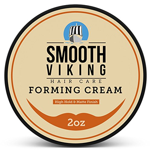 Forming Cream for Men - Hair Styling Cream for High Hold & Matte Finish - Best Pliable Formula for Modern, Classic & Slick Styles - Short, Long & All Other Hair Types- 2 OZ - Smooth Viking (Beeswax Medium Natural)