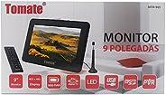 """TV Portatil Digital 9"""" Conversor Integrado Monitor com Controle Remoto USB LED PVR SD e Bateria Recarrega"""