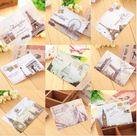 VNDEFUL 18PCS Personalized Creative Card Vintage European And American Monument Postcard.