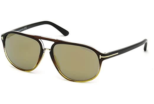 922aaeafbc7 Image Unavailable. Image not available for. Color  TOM FORD FT0447 Jacob  Sunglasses Black Gradient w Brown Mirror (05C) TF 447