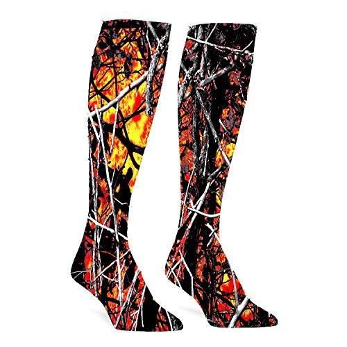 Fire White Cotton Spandex - Wildfire Lifestyle Camo Red Athletic Socks Knee High Socks For Men&Women Warmer Stockings Sport Long Sock Tube Long Stockings Casual Socks