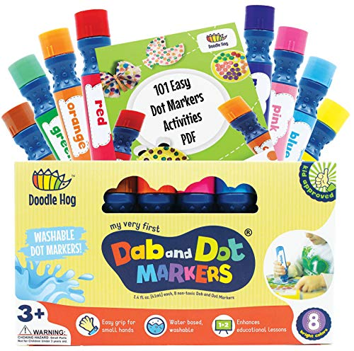 Washable 8 Colors Dot Markers Pack Set. Fun Art Supplies for Kids, Toddlers and Preschoolers. Non Toxic Arts and Crafts Supplies. Includes 200 Plus Fun Downloadable Coloring PDF Sheets (8 Pack)]()