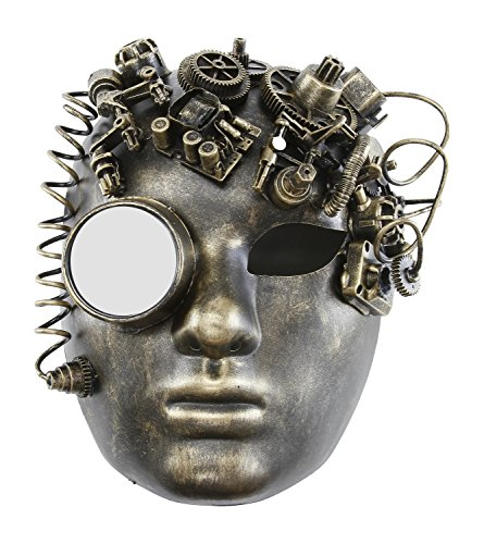 KAYSO INC The Black Smith Victorian Steampunk Bauta Full Face Masquerade Mask (Rustic Gold) (Victorian Face Masks)