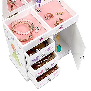 JewelKeeper Unicorn Musical Jewelry Box with 3 Pullout Drawers, Fairy Princess and Castle Design, Dance of the Sugar Plum Fairy Tune