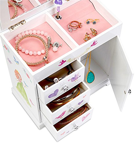 JewelKeeper Unicorn Musical Jewelry Box with 3 Pullout Drawers, Fairy Princess and Castle Design, Dance of the Sugar Plum Fairy Tune by JewelKeeper (Image #2)