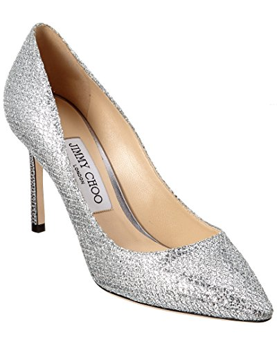 JIMMY CHOO Romy 85 Glitter Fabric Pointy-Toe Pump, - Choo Silver Jimmy