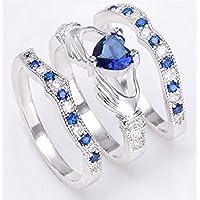 Fashion Jewelry Womens Claddagh Blue Sapphire 925 Silver Wedding Ring Size5-12 (12)