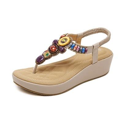 940aaf98a76f96 Women s Bohemian Wedges Sandals Summer Beach Platform Comfort Roman Thong  Bling Elastic Flip Flops Apricot