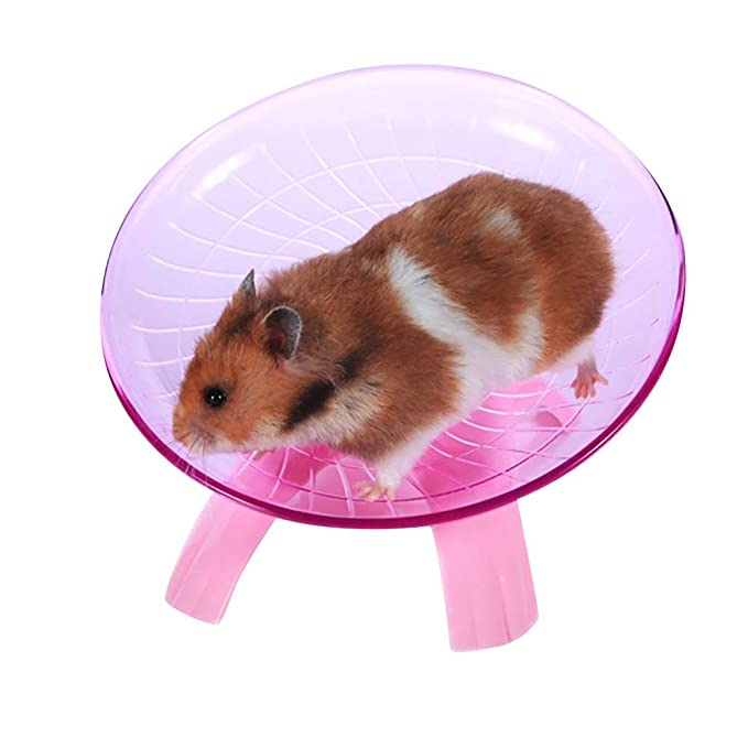 Fliyeong Hamster Flying Saucer Pet Wheel Fly Toys Rat Running Disc Flying Saucer Gerbil Cage for Small Animals Blue Durable and Useful