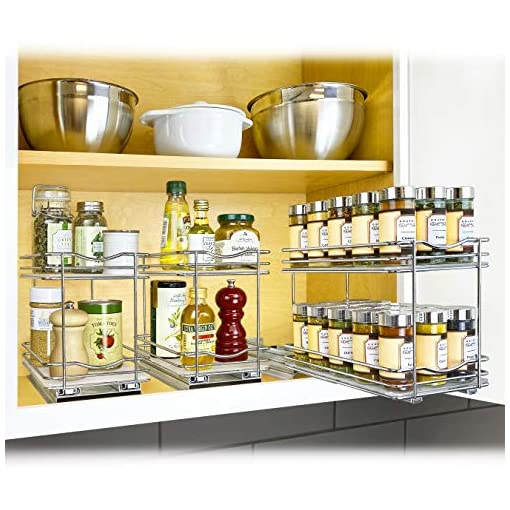 Kitchen Lynk Professional Slide Out Double Spice Rack Upper Cabinet Organizer, 6-1/4″ & Professional Slide Out Pan Lid Holder and Pull Out Kitchen Cabinet Organizer Rack, 7.25w x 21d x 9h -inch, Chrome spice racks