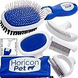 Horicon Pet Premium Dog Brush Set Interchangeable Dog Grooming Brushes - Dematting Undercoat Comb, Slicker Brush, Deshedding Edge Comb, Spring Comb, Ball Pin Brush, Bristle Brush