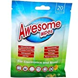 Awesome Wipes Disinfecting Screen Cleaning Wipes for Electronics - Anti-Static, Streak-Free, Lint-Free, 20 Pre-Moistened Wipes in Resealable Pouch