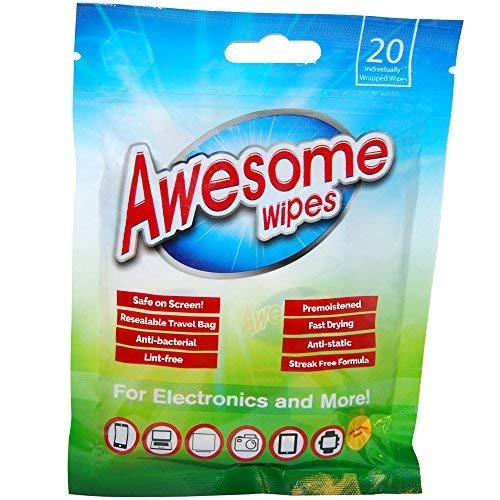 (Awesome Wipes Disinfecting Screen Cleaning Wipes for Electronics - Anti-Static, Streak-Free, Lint-Free, 20 Pre-Moistened Wipes in Resealable Pouch)