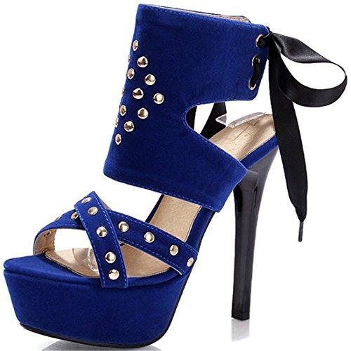 de Satén La para del Sandalia Unión con Zapatos Código Mujer Talón Blue Mujer Pulsera Station Gran Mujer Sandalias Sandalias Alto con de Después 4xvYv