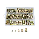 WGCD 200 PCS M4 5 6 8 10 Zinc Plated Carbon Steel Rivet Nut Kit Flat Threaded Insert Nutsert