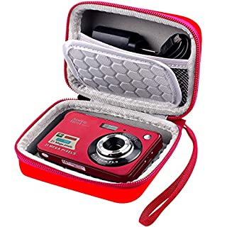 """Carrying & Protective Case for Digital Camera, AbergBest 21 Mega Pixels 2.7"""" LCD Rechargeable HD/Canon PowerShot ELPH 180/190 / Sony DSCW800 / DSCW830 Cameras for Travel - Red"""