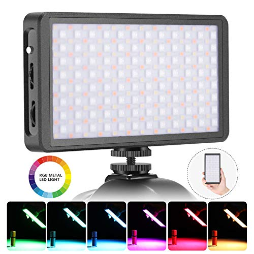 Neewer F7 RGB LED Light for Camera Camcorder, Full Color Rechargeable Pocket Size LED Video Light CRI97/2500K-9000K/0-360 Adjustable Colors/20 Applicable Situation/Aluminum Alloy Shell with Magnet