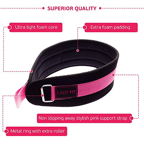 "Weightlifting Belt for Women Pink Back Support at Gym, Squat, Deadlift, Bodybuilding, Weight and CrossFit Workout by LadyFIT. Small (30"" 36"")"