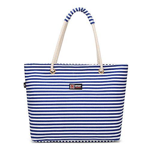 VogueZone009 Women's Moda Casual Cremalleras Tela Bolsas de Hombro Comprador Azul