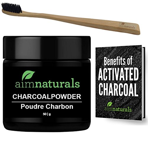 aimnaturals Best Canadian Natural Teeth Whitening Activated Charcoal Powder In Bulk (50g) + FREE Bamboo Toothbrush + FREE Benefits of...