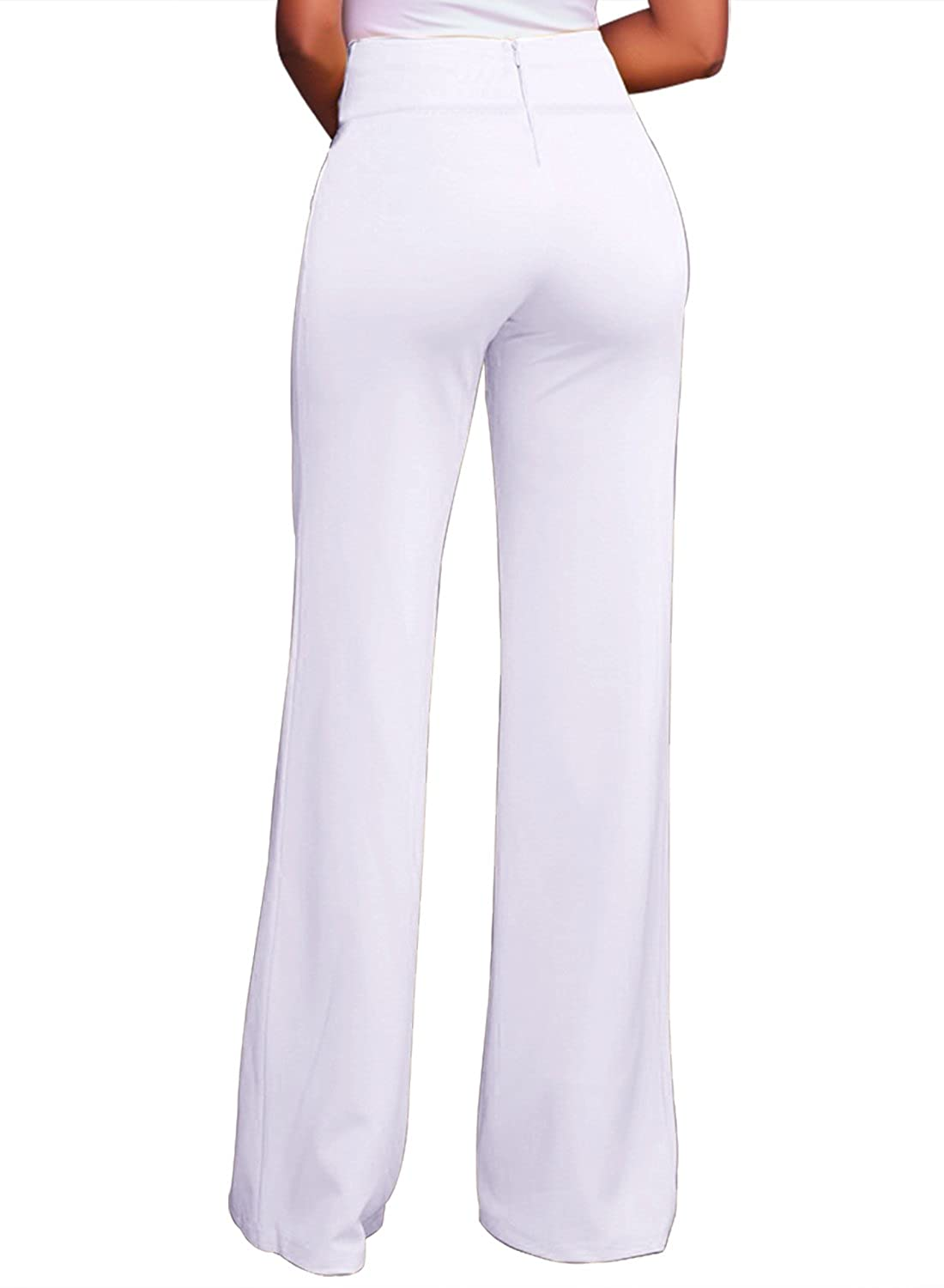2f126ad0e010f LOSRLY Women Solid Color High Waist Zipper Wide Leg Palazzo Long Pants Plus  Size - White -  Amazon.co.uk  Clothing
