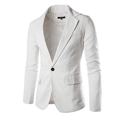 6493a7db054a Veste Homme Slim Fit Jacket Blazer Blouson Loisir Affaires Mariage Blanc S