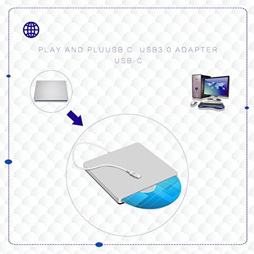 Lvaen USB-C Super drive External DVD/CD Rewriter Drive Lvaen USB C Burner for latest Mac Pro/MacBook Pro/ASUS U306UA/ASUS/DELL Latitude,Support Windows 98/XP/Win 7/8/10/Mac OS (Silver) by Lvaen (Image #4)'