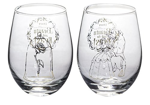 Disney Collectible Wine Glass Set (Beauty & The (Disney Glass)