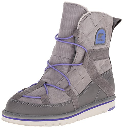 SOREL Kids Girl's Newbie  Light Grey/Purple Lotus Boot 4 Big