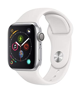 official photos c34df 65844 Apple Watch Series 4 (GPS, 40mm) - Silver Aluminium Case with White Sport  Band