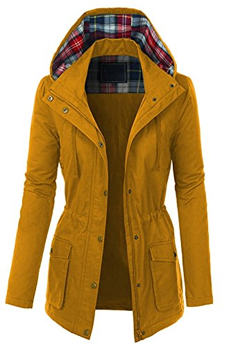 (FASHION BOOMY Womens Zip Up Military Anorak Jacket W/Hood (2X_Plus, LC-Mustard))