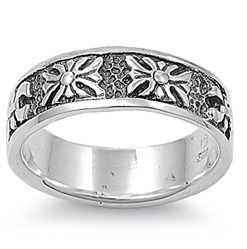 925 Sterling Silver Fleur De Lis Eternity Artwork Ring Size 8