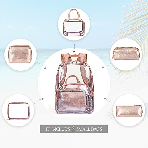 NiceEbag 6 in 1 Clear Backpack with Cosmetic Bag & Case, Clear Transparent PVC School Backpack Outdoor Bookbag Portable Travel Toiletry Bag Makeup Quart Luggage Organizer (Rose Gold) by NiceEbag (Image #3)