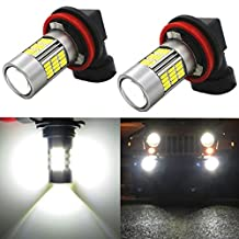Alla Lighting High Power 4014 54-SMD Newest Version H11 H8 H16 Xtremely Super Bright 6000K Xenon White LED Fog Light Bulb Replacement
