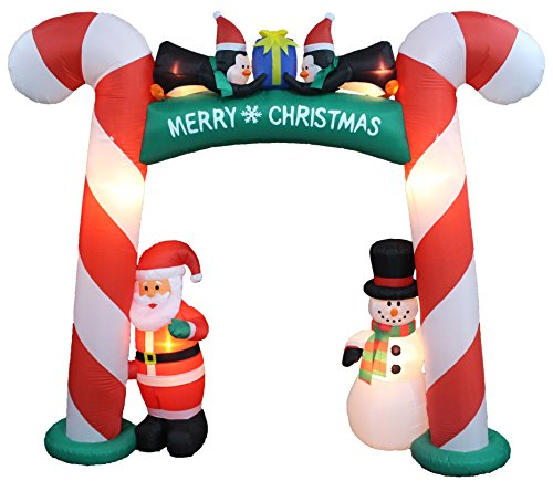 8 Foot Tall Lighted Christmas Inflatable Candy Cane Archway with Santa Claus Snowman Penguins and Gift Yard Party Decoration by BZB Goods