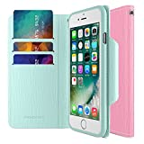 iPhone 7 Case, Maxboost [Folio Style] Premium iPhone Wallet Cover STAND Feature for Apple iPhone 7 2016 [Pink/Teal] Protective PU Leather Flip Cover with Card Slot + Side Pocket Magnetic